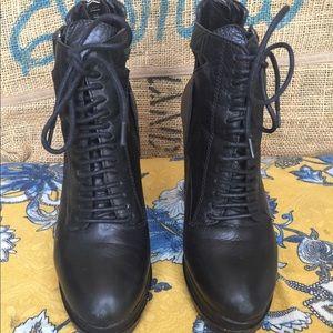 Vegan Leather Combat Boots (W8)